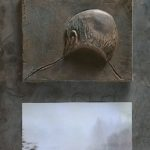 №20. metal, bronze, printing on paper  70 х 40
