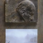 №5. metal, bronze, printing on paper  70 х 40